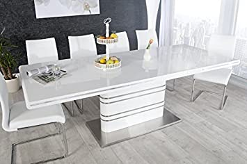 Atlantic 160-220cm white high gloss dining table
