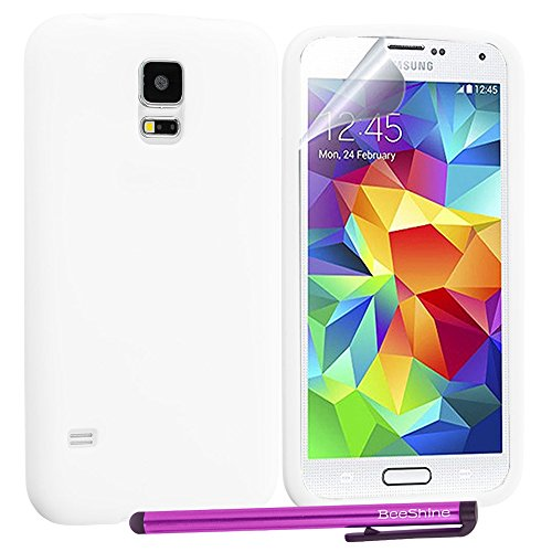 Beeshine Retail Package Flexible Rubber Skin Soft Silicone Case Cover With Lcd Film Guard Screen Protector & Touch Stylus Pen For Samsung Galaxy S5 / Sv / Sm-G900 (At&T, Verizon, Sprint, T-Mobile,U.S. Cellular) (Clear White)