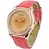 Champagne Dial Owl Women's Crystals Decorated Quartz Wrist Watch Red Band