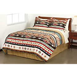 Southwest Turquoise Tan Red Native American KING Comforter Set (8 Piece Bed In A Bag)