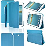 "HOTSALEUK Samsung Galaxy Tab 3 7.0 7-inch Book Cover Case Leather Stand, Bonus: Screen Protector + Stylus Pen (for Galaxy Tab 3 7"" INCH P3200/ P3210, WiFi or 3G+WiFi), byhotsaleukStore®, Seller of Best Selling Galaxy Tab 2 7-inch Case (BLUE)"