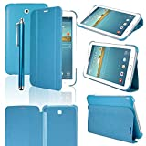 HOTSALEUK Samsung Galaxy Tab 3 7.0 7-inch Book Cover Case Leather Stand, Bonus: Screen Protector + Stylus Pen (for Galaxy Tab 3 7
