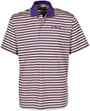 Oxford Golf NCAA LSU Tigers Men's Bar Stripe Golf Polo, Grape/Citrus