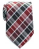 (リトリーズ) RETREEZ モダンスタイル タータンチェック マイクロファイバー 織り生地 メンズ ネクタイ - ワインレッド&ブラック