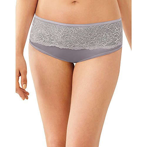 Bali One Smooth U Comfort Indulgence Satin with Lace Hipster, Warm Steel, 9