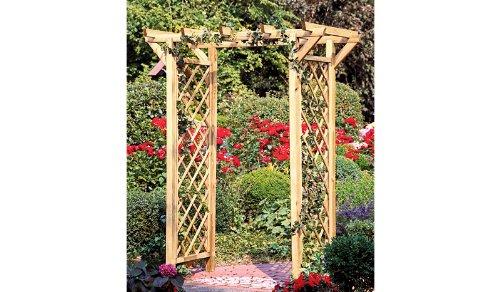 Rosenbogen Holz Durchgangsbreite 160 ~ Pergola  Rosenbogen mit Rankgitter  Rankhilfe aus Holz und einer