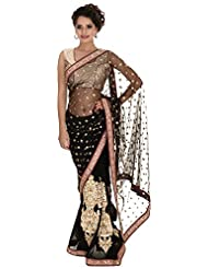 Bachhawat Women's Net & Georgette Saree (Karina_18005, Black)