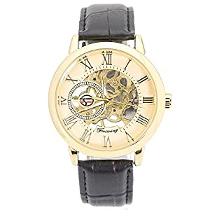 KTC Deals Forsining Silver Color Case Mechanical Dial Automatic Movement Leather Band Wrist Watch