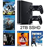 2019 Playstation 4 Slim PS4 2TB SSHD Console + Two Dualshock-4 Wireless Controllers + (Madden NFL 20, The Last of US, etc, Fortnite) Bundle (Color: Jet Black)