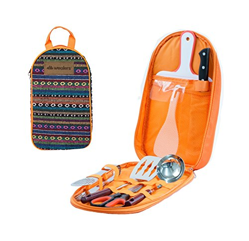 Wealers 7 Piece Outdoor Indoor Camping Bbq Cooking Utensils Set Kitchenware Cookware Set, Cutting Board, Rice Paddle, Tongs, Scissors, Knife, (Orange) (Camp Cooking Utensils compare prices)