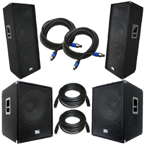 """Seismic Audio - Aftershockpkg7 - Pair Of Dual 15"""" Pa Speakers, Pair Of Powered 18"""" Subwoofers With Two Speaker And Two Microphone Cables - Pa/Dj Package"""