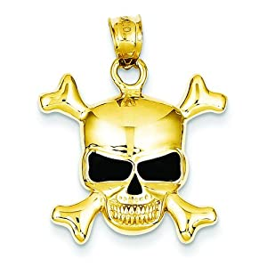 14K Gold Enameled Skull & Crossbones Pendant Jewelry