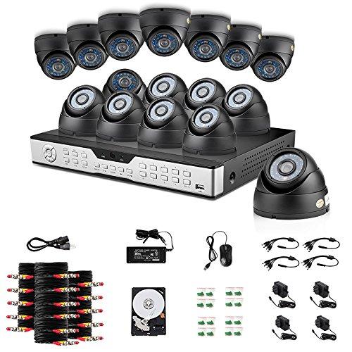 ZMODO 16 Kanal Video DVR CCTV Überwachungskamera Set Video Überwachungssystem mit 16 Innen Night Vision Wetterfeste Tag/Nacht 600TVL Sicherheitskameras mit 1TB Festplatte