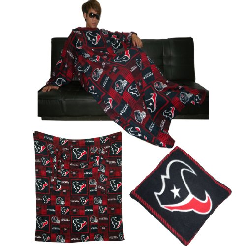 NFL Houston Texans 袖が付いている大きいスローブランケットそのソファー枕に折り目 Large Throw Blanket With Sleeves that folds into a Couch Pillow - ダークブルー&レッド Dark Blue & Red