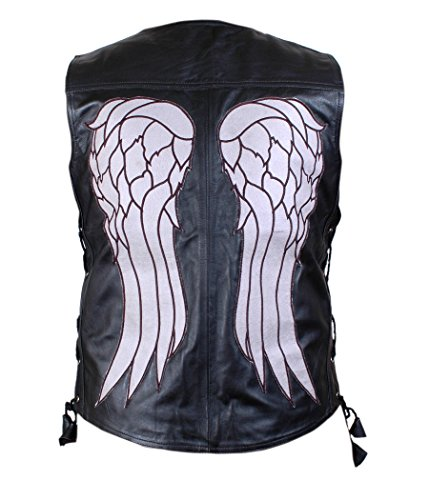 THE WALKING DEAD GOVERNOR - DARYL DIXON ANGEL WINGS LEATHER VEST JACKET - BNWT - Large