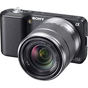 Sony Alpha NEX-3 Interchangeable Lens Digital Camera w/18-55mm Lens (Black)-14.2 Mpix