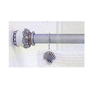 Amazon.com: Sea shell SEASHELL shower CURTAIN ROD Bath decor ...