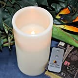 "LED Lytes Real Wax Battery Operated Flameless Pillar Candle with Remote, A Tall 8"" X 4"" Ivory Colored Wax with a Flickering Amber Yellow Flame for Wedding Decorations, Brides, Parties, Gifts"