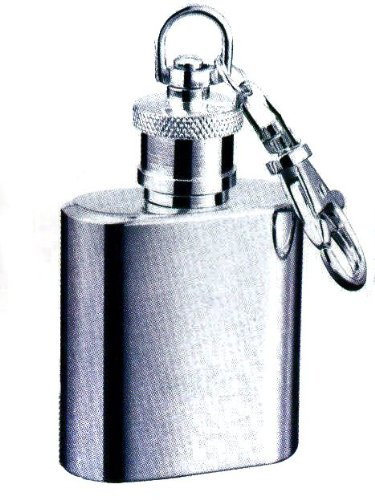 Stainless Steel 1oz Hip Flask on Key Ring
