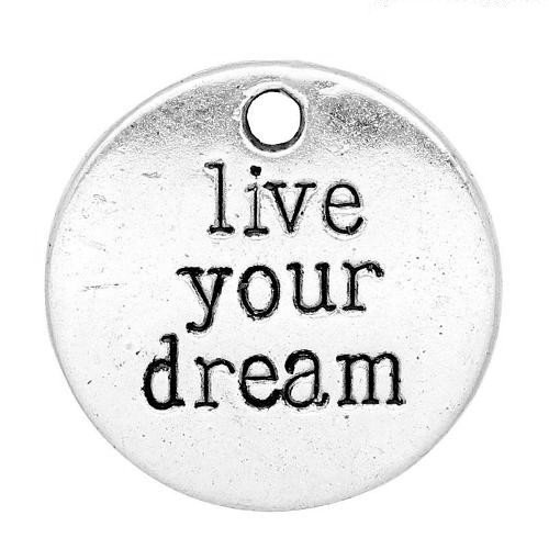 Pacco 5 x Argento Tibetano 20mm Ciondoli Pendente (Live Your Dream) - (ZX04650) - Charming Beads