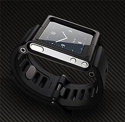 Ipod Nano 6 6th Gen Wristband Wrist Band Watch Strap / Bracelet Cover Case Cool Aluminum Material Black Color