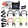 Bodylastics 14 pcs Snap Guard Resistance Bands Set with 6 Stackable anti-snap exercise tubes, Heavy Duty components, carrying case, massive 3x4 ft. Wall Chart, and at least 2 months FREE access to over 3000 Bodylastics video workout videos from Pilates to MMA