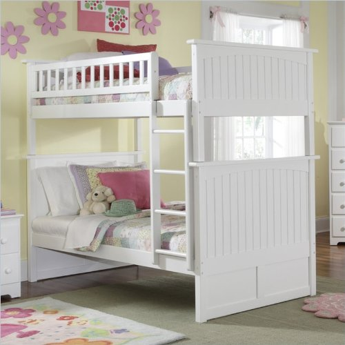 White Bunk Bed Twin Over Full 1333 front