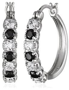 Sterling Silver Black and White Cubic Zirconia Alternating Hoop Earrings