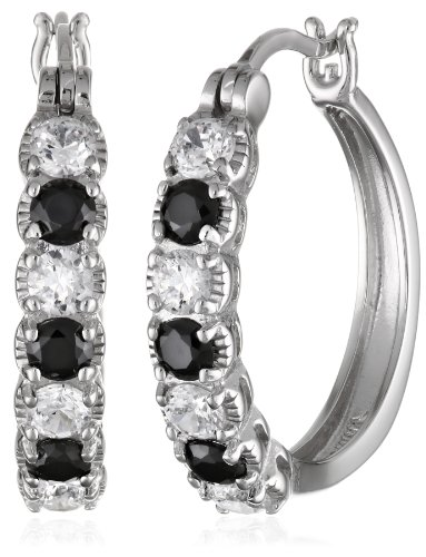 Sterling Silver Black and White Simulated Diamond Alternating Hoop Earrings