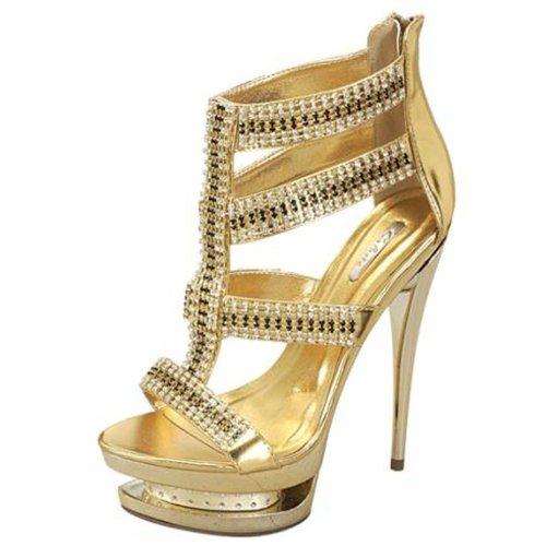 Celeste Alude-05 Gold Color Evening Triple Platform Sandals, Size: 8 (M) US [Apparel]