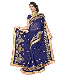 Bollywood Designer Original Women's Nevy Blue Chiffon Saree With Blouse