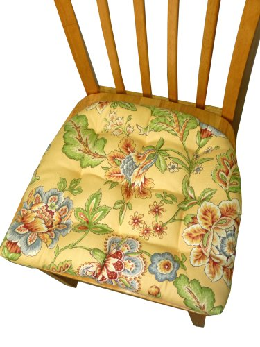 Small Patio Chair Replacement Cushion / Standard Outdoor Dining Set Chair Pad with Ties - Avery Yellow Floral - Indoor / Outdoor, Mildew Resistant, Fade Resistant - Reversible, Tufted Chair Pad picture