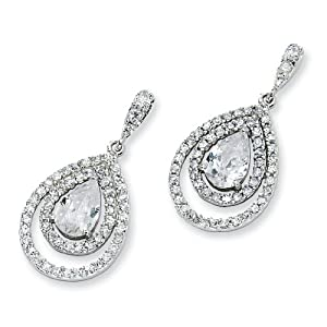 Sterling Silver Pear CZ Dangle Post Earrings
