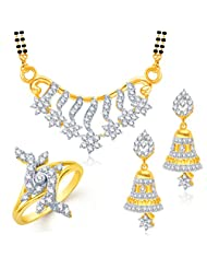 Meenaz Mangalsutra Jewellery Set Combo Gold Plated Cz In American Diamond For Girls &Women Com108