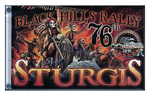 Hot Leather Men's 2016 STURGIS RALLY MOTORCYCLE FLAG INDIAN STORM STURGIS BIKER FLAG