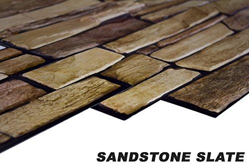 1 pvc dekorplatte mosaic wandverkleidung platten wand 95x48cm sandstone slate. Black Bedroom Furniture Sets. Home Design Ideas