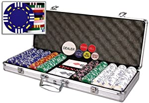 New Premium 500 Real Clay 14 gram Tri Color 12 Stripe Poker Chips Set