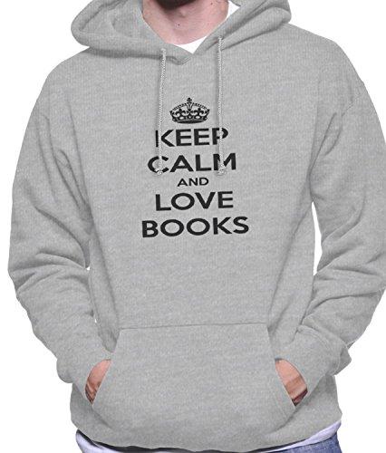 Hoodie da uomo con Keep Calm and love books stampa. XX-Large, Grigio
