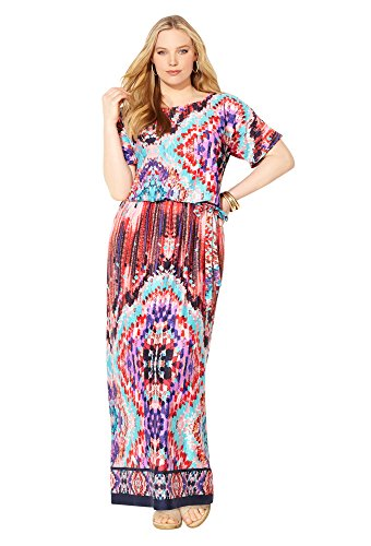 Avenue Women's Geo Blouson Maxi Dress miracle on 5th avenue
