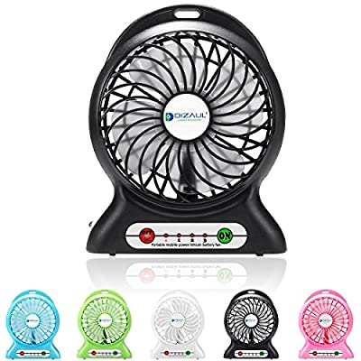 Portable fan,Dizaul® mini usb rechargeable fan with 2600mAh power bank and flashlight,Battery Operated fan for Traveling,Baby Stroller,Fishing,Camping,Hiking,Picnic,BBQ,Backpacking,Biking,Paddling,Boating,Outdoor or Indoor Use