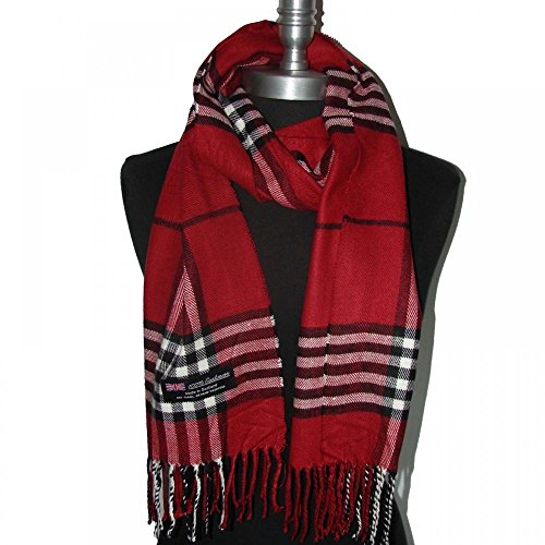 Red_(US Seller)Scarves 12x72 Plaid MADE IN SCOTLAND - B91 (Diamond Black Ice Bow compare prices)