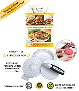Yumms! Burger Press Hamburger Patty Maker - Part of the Gourmet Burgers Essentials Line