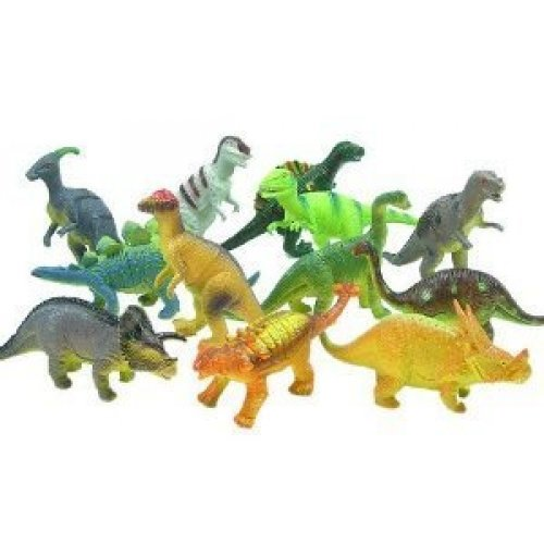 Bucket of a Dozen Jumbo Dinosaurs up to 6 inches long - 1