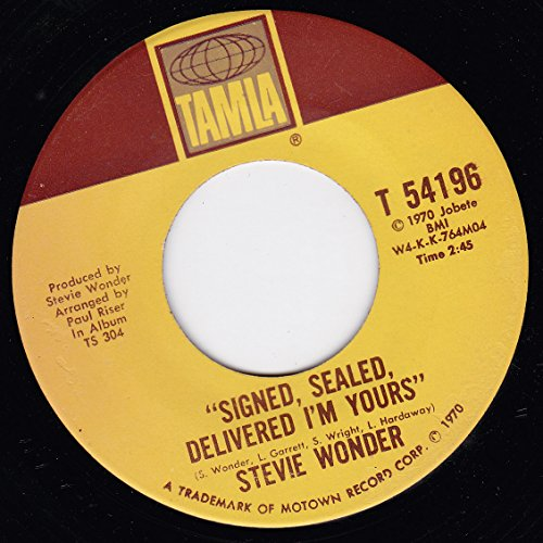 Original album cover of 45vinylrecord Signed Sealed Delivered I'm Yours/I'm More Than Happy (7 by Stevie Wonder