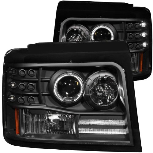 Anzousa 111184 Black Projector Halo Headlight With Side Marker And Parking Light For Ford F-150/F-250/Bronco - (Sold In Pairs)