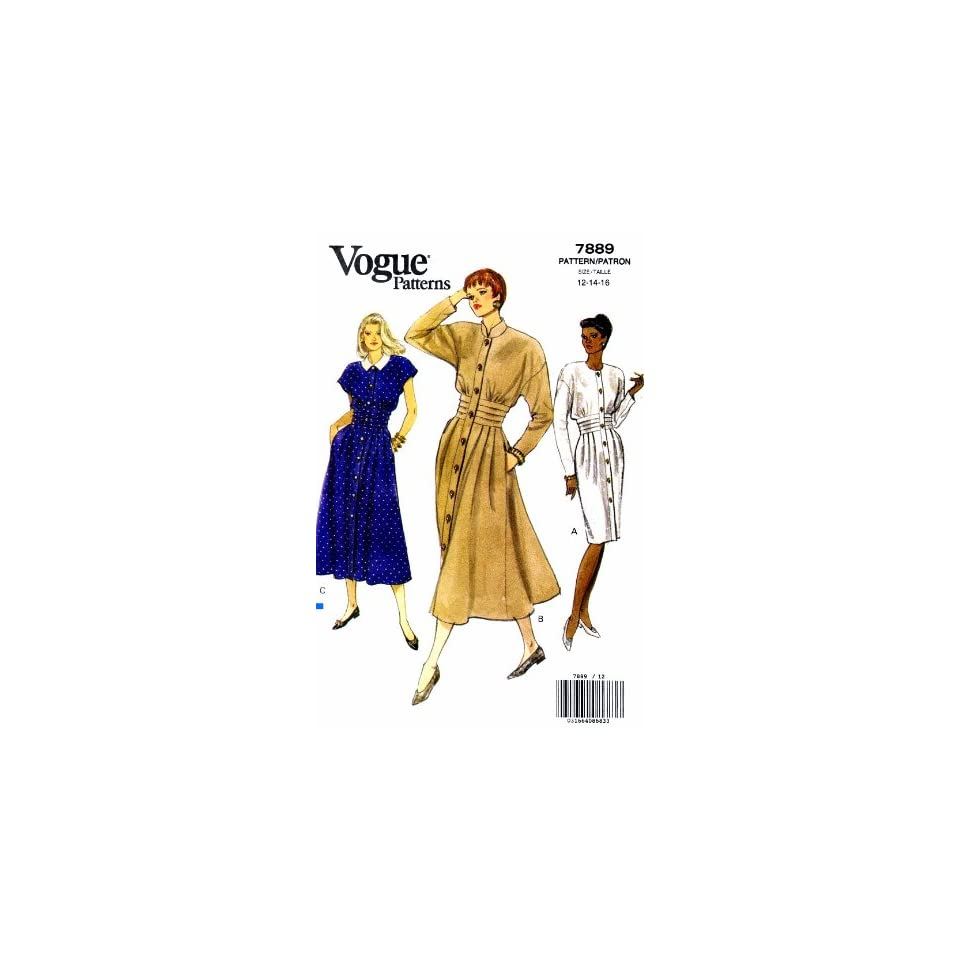 Vogue 7889 Sewing Pattern Womens Jewel Neck Tucked Dress Size 12   14   16