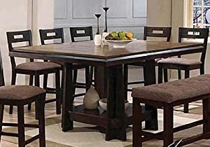 Counter Height Table Oak And Espresso Finish