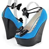 Sheozy New Womens Blue Suede Peep Toe Ankle Strap Bow High Heels Wedges Shoes