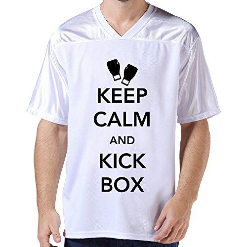 Lfd Men'S Keep Calm Kickbox American Football Jerseys White