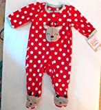 Carter's Red and White Polka Dot Sleeper with Aqua Accents Size New Born